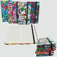 "Блокнот на резинке ""Мозаика"" клетка, 8х13,5см, 80л, цвет.торец, желт.бум., mix4"