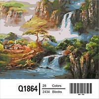 """Q1864 """"Китайская деревушка"""" Роспись по номерам 40х50см"""