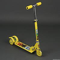Самокат детский трехколесный Нинзяго: 3 колеса PVC, свет, d-9.5см. Для детей 3-6 лет. Цвет желтый