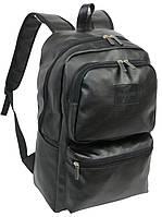 Большой рюкзак из эко кожи Rozmah RL-6, черный 22 л