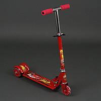 Самокат детский трехколесный Тачки: 3 колеса PVC, свет, d-9.5см. Для детей 3-6 лет. Цвет красный