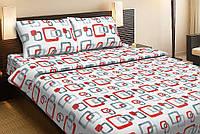Красивое хлопковое полуторное постельное белье Lotus DELTA V1 красный LT12