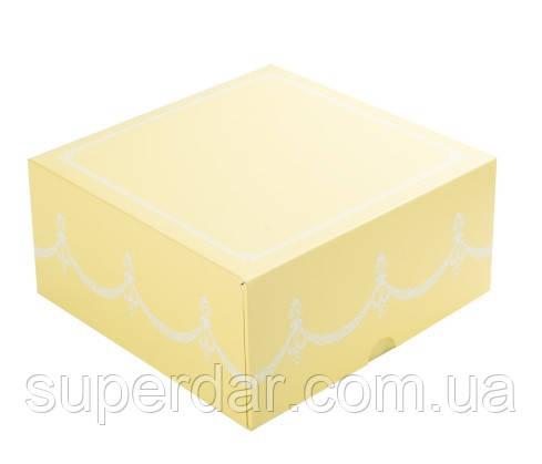 Коробка для кусочков торта, пирожных и др. изделий 165Х165Х80 мм., желтая