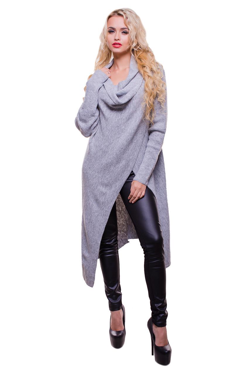 Женский удлиненный кардиган из шерстяной рефленой ткани серого цвета