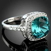 Позолоченное женское кольцо с кристаллами Swarovski Голубой сапфир 150802 (18.2 размер в наличии)