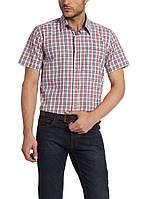 Мужская рубашка LC Waikiki с коротким рукавом белого цвета в красную и синюю клетку