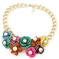 Колье с цветами Нани P006296 разноцветное