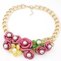 Колье с цветами Нани P006295 розовое