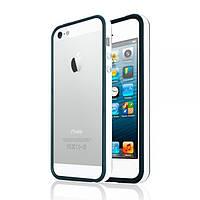 Бампер для iPhone 5С с полоской, белый