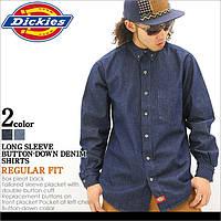 Американская джинсовая рубашка Dickies® WL300 RNB (Indigo Blue) Мужская с длинным рукавом, 100% хлопок (L)
