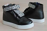 Черные ботинки слипоны на девочку, демисезонная обувь тм JG р. 29,30,32