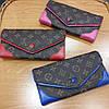 Кошелек Louis Vuitton раскладной на кнопке, с красными вставками в коробке, фото 5