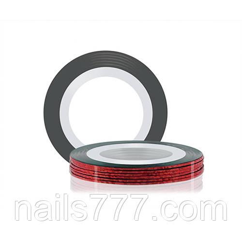 Лента для дизайна ногтей - Красная голографическая