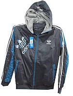 Костюм мужской спортивный 8A-89 Adidas с капюшоном полу батал (деми)