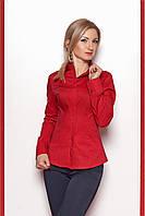 Классическая женская  рубашка укороченной длины красная размер 46