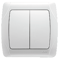 Выключатель 2-клавишный белый Viko Carmen