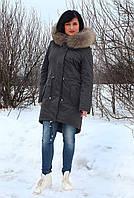 Зимняя женская парка темно-серого цвета с мехом енота