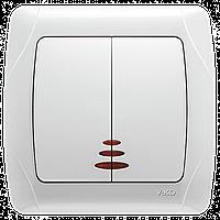 Выключатель 2-клавишный с подсветкой белый Viko Carmen