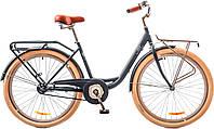 """Велосипед 26"""" Dorozhnik LUX 14G рама-17"""" St серый с багажником зад St,с крылом St,с багаж перSt 2018"""