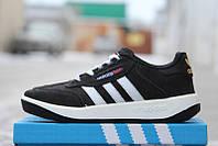 """Мужские кроссовки Адидас лучшее качество """"Oxford"""", кожаные кросовки Adidas черно-белые."""
