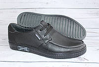 Комфортные мужские туфли, кожаные черные
