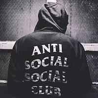 Толстовка чёрная утеплённая с принтом Anti social social club | худи assc