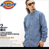 Американская джинсовая рубашка Dickies® WL300 SNB (Stonewashed) Мужская с длинным рукавом, 100% хлопок (L)