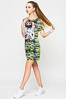 Платье женское Монро лето Leo Pride, 42, Трикотаж, камуфляж салат / tatler