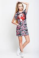 Платье женское Монро лето 46, Воздухопроницаемость, трикотаж, камуфляж малиновый /перчатка