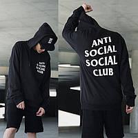 Толстовка чёрная assc logo | худи стильная anti social social club