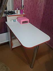 Манікюрний стіл з поличкою, білий з червоною крайкою