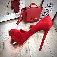 Женские туфли лодочки на шпильке красные замшевые, туфли женские лодочки интернет магазин