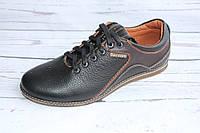 Мужские туфли комфорт, черно-коричневый глянец