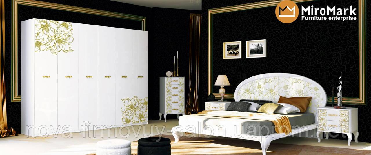 Спальня Піонія глянець білий-золото