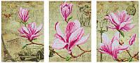 Схема для вышивания бисером  DANA Триптих Цветение магнолий 48