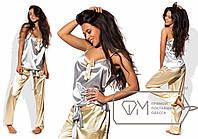 Пижама женская серебро с золотом UD/-06981