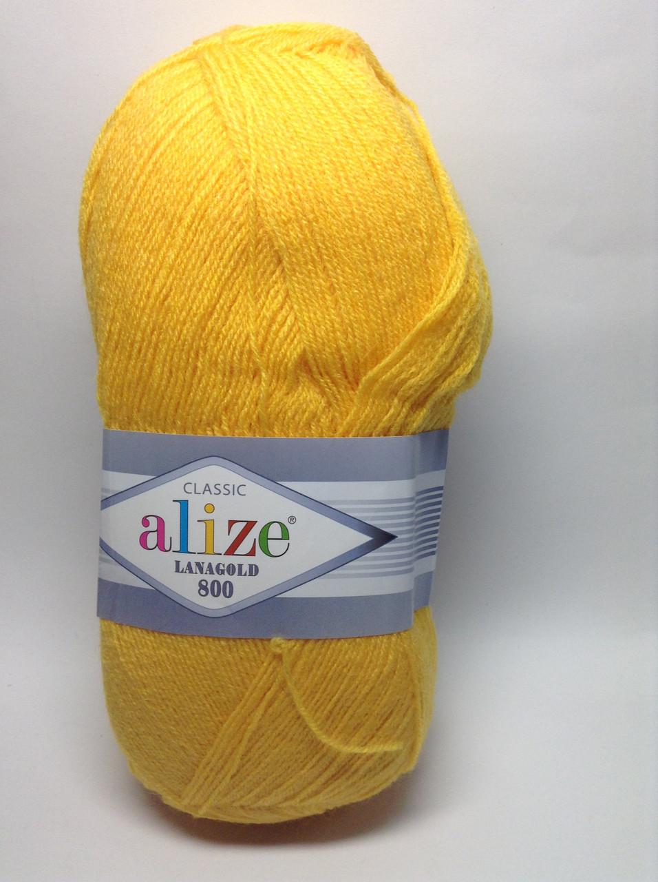 Пряжа lana gold 800 - цвет желтый