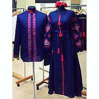 Платье в пол с вышивкой ромбы с клиньями