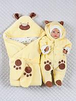 """Велюровый набор """"Панда лапки"""", демисезонный, желтый, фото 1"""
