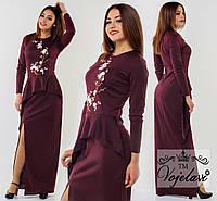 Вечернее длинное платье с разрезом сбоку и асимметричной баской