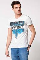 Мужская футболка De Facto белого цвета с надписью New York