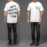 Футболка белая с принтом Anti Social social club   assc