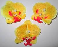 Головка орхидеи 9 см, желтая