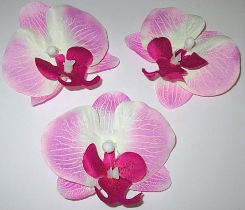 Головка орхидеи 9 см, сиренево-белая