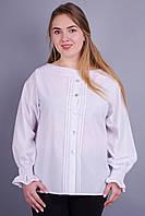 Сангрия. Женская блуза больших размеров. Белый.