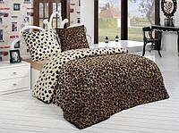 Семейное трикотажное постельное бельё с простыней на резинке ACELYA Леопард коричневый