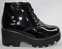 Женские ботинки весна молодежные лаковые, женская обувь лаковая от производителя модель ЭД32-16Л