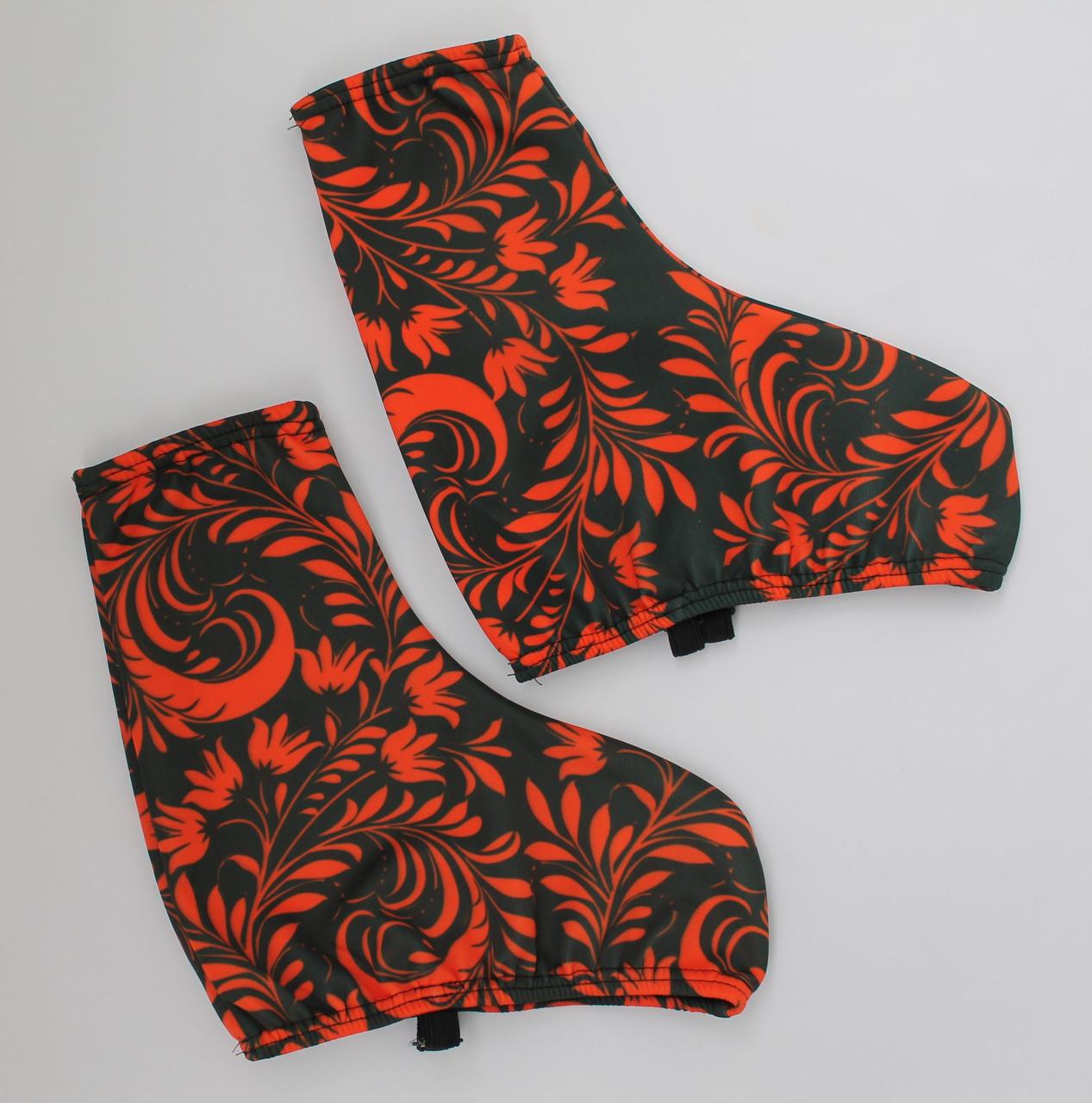 Чехол на ботинок конька (черный с красным узором)