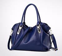 Вместительная женская сумка синяя