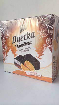 Конфеты птичье молоко с прослойкой желе из апельсинового сока в шоколаде Duetka Польша 400г, фото 2